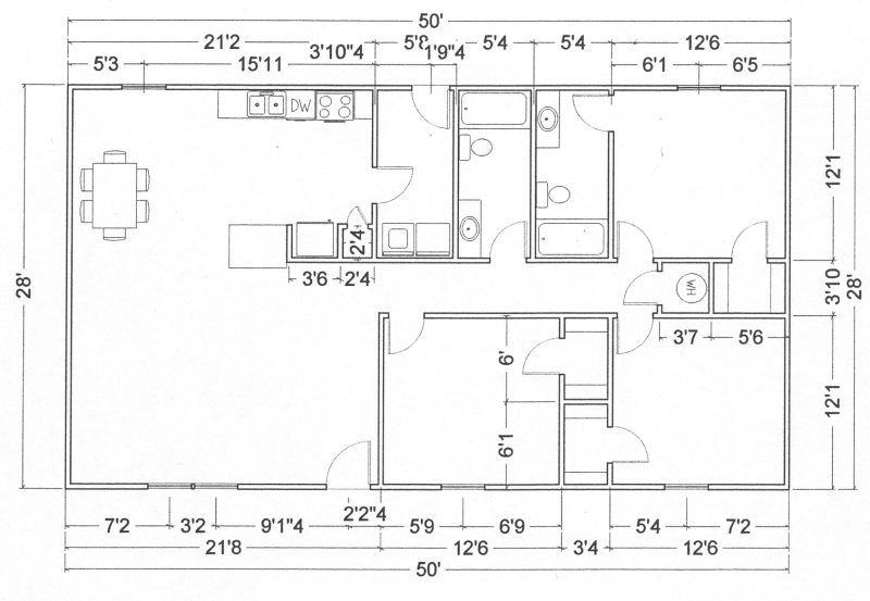 3 Bedroom 2 Bathroom House | View Blueprint